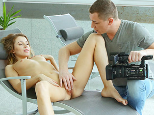 Shy natural blonde is seduced by her photographer