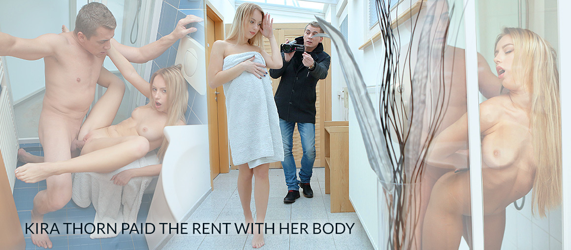 Poor blonde paid the rent with her body